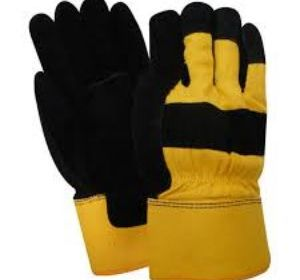 T53164 Pile Lined Black Leather Work Glove